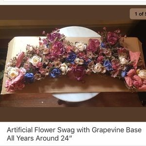 """Artificial Flower Swag with Grapevine Base 24"""""""